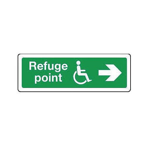 Rigid PVC Plastic Emergency Escape Signs For The Physically Impaired Refuge Point Arrow Right HxW mm: 300x100