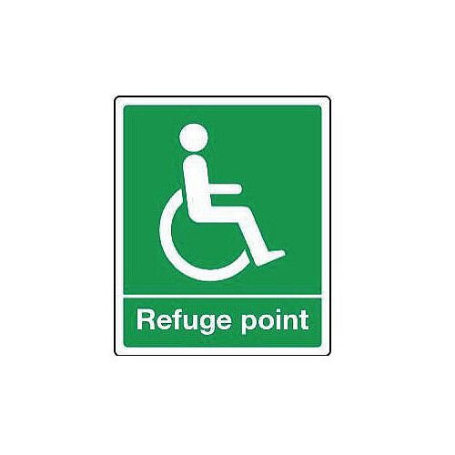Rigid PVC Plastic Emergency Escape Signs For The Physically Impaired Refuge Point HxW mm: 300x250