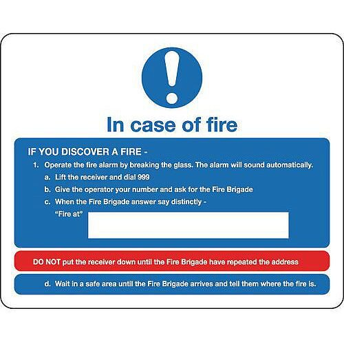 Sign Fire Action Notice 250X200 Rigid Plastic