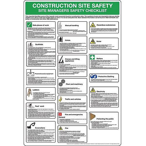 Rigid PVC Plastic Construction Site Safety Poster