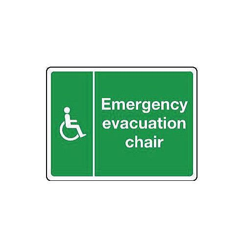 Rigid PVC Plastic Emergency Evacuation Chair Sign H x W mm: 100 x 150