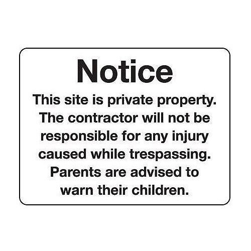 Sign Notice This Site Is Private 600X400 Rigid Plastic