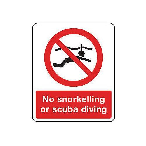 Rigid PVC Plastic National Water Safety Sign No Snorkelling Or Scuba Diving