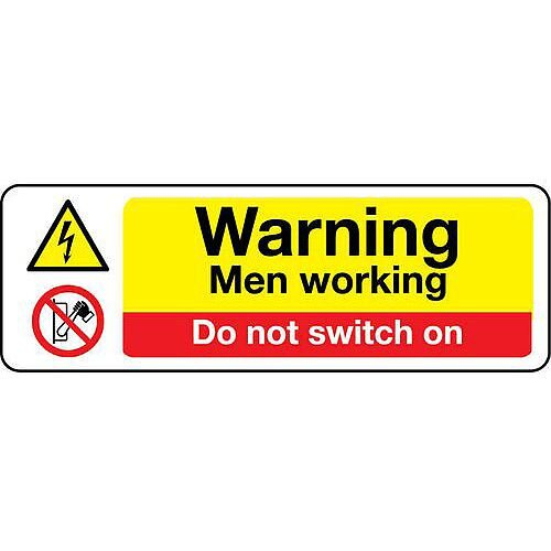 Rigid PVC Plastic Machinery Hazards Sign Warning Men Working Do Not Switch On