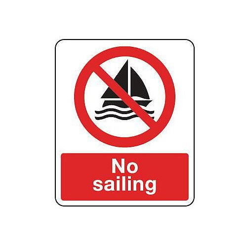 Rigid PVC Plastic National Water Safety Sign No Sailing