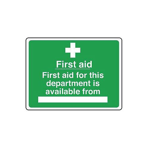 Rigid PVC Plastic Safe Condition And First Aid Sign First Aid For This Department Is Available