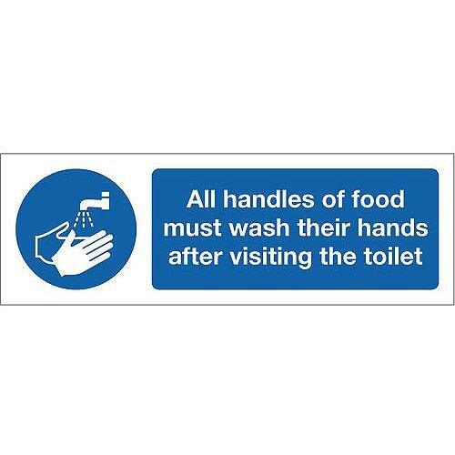Rigid PVC Plastic Food Processing And Hygiene Sign All Handlers Of Food Must Wash Their Hands After Visiting The Toilets