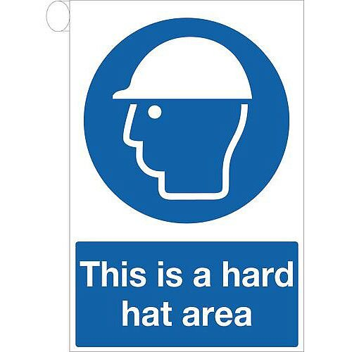 Rigid PVC Plastic Roll Top Sign This Is A Hard Hat Area