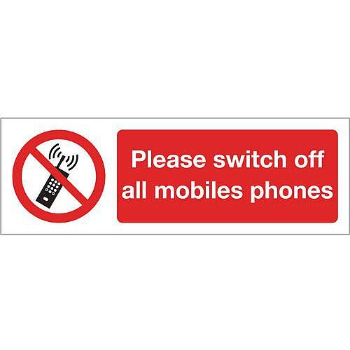 Rigid PVC Plastic Please Switch Off All Mobile Phones Sign