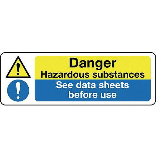 Rigid PVC Plastic Multi-Purpose Hazard Sign Danger Hazardous Substances See Data Sheets Before Use