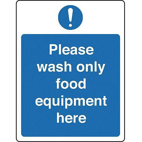 Rigid PVC Plastic Food Processing And Hygiene Sign Please Wash Only Food Equipment Here