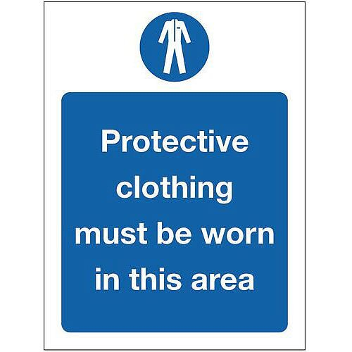Rigid PVC Plastic Food Processing And Hygiene Sign Protective Clothing Must Be Worn In This Area