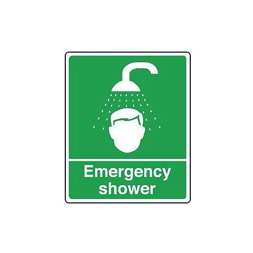Rigid PVC Plastic Safe Condition And First Aid Sign Emergency Shower Text And Pictorial