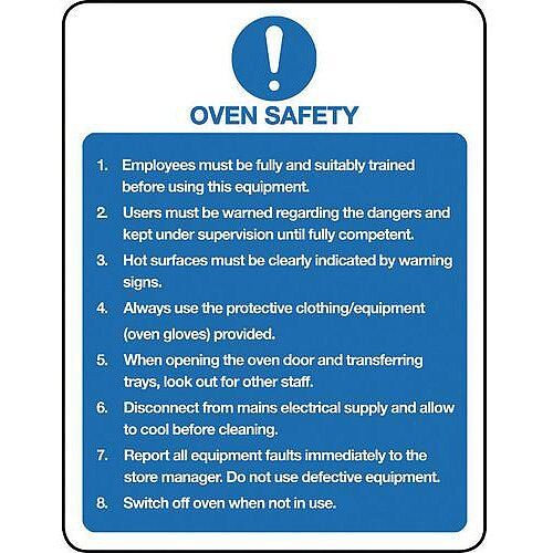 Rigid PVC Plastic Food Processing And Hygiene Sign Oven Safety