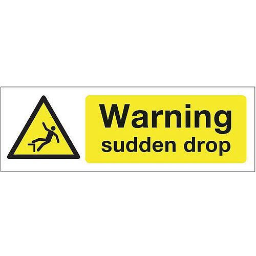 Rigid PVC Plastic Construction And General Hazards Sign Warning Sudden Drop