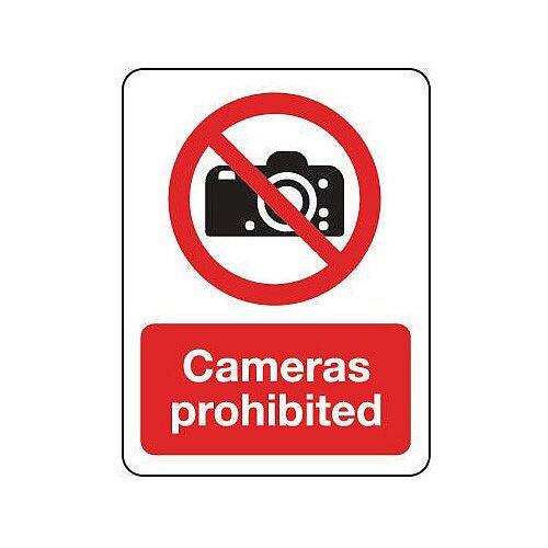 Rigid PVC Plastic General Prohibition Sign Cameras Prohibited