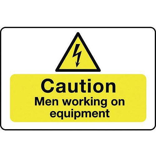 Rigid PVC Plastic Muli-Purpose Hazard Sign Caution Men Working On Equipment