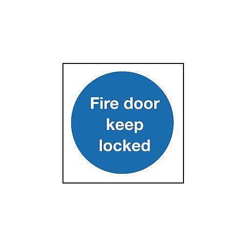 Rigid PVC Plastic Fire Door Keep Locked Sign