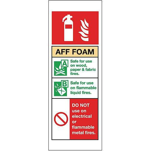 Rigid PVC Plastic Fire Extinguisher Sign Aff Foam