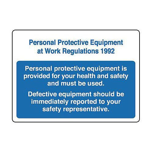 Rigid PVC Plastic Personal Protective Equipment At Work Regulations 1992 Sign