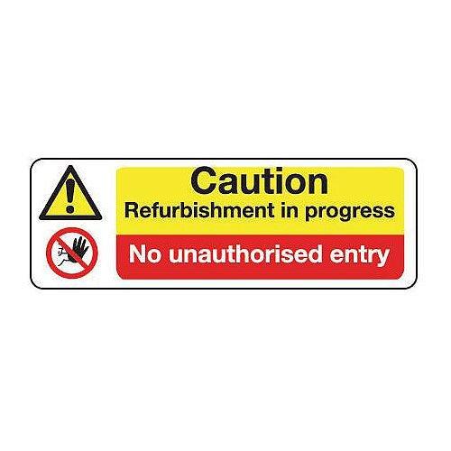 Sign Caution Refurbishment 600X200 Rigid Plastic