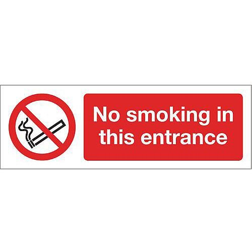 Rigid PVC Plastic Smoking Prohibition Sign No Smoking In This Entrance