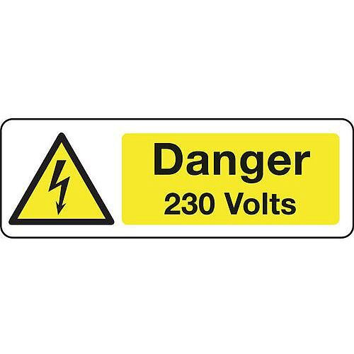 Rigid PVC Plastic Electrical Hazard Sign Danger 230 Volts