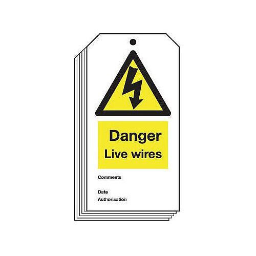 Tag Danger Live Wires 80X150 Rigid Plastic
