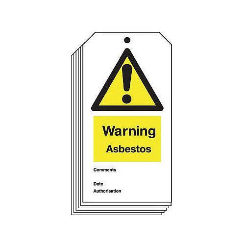 Tag Warning Asbestos 80X150 Rigid Plastic Pack of 10