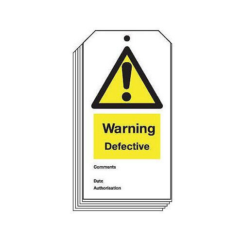 Tag Warning Defective 80X150 Rigid Plastic