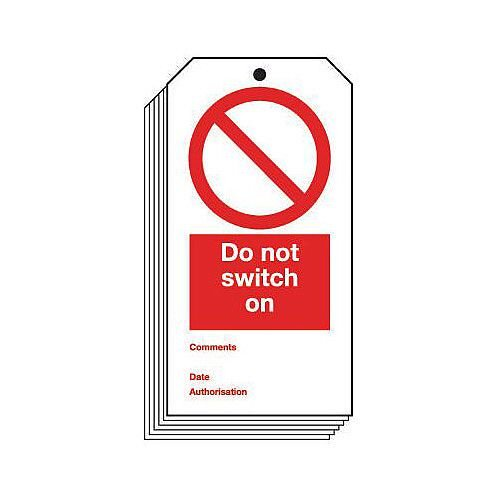 Tag Do Not Switch On 80x150mm Rigid PVC Plastic Pack 10
