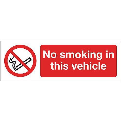 Rigid PVC Plastic Smoking Prohibition Sign No Smoking In This Vehicle