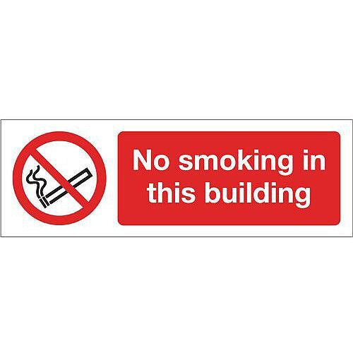 Rigid PVC Plastic Smoking Prohibition Sign No Smoking In This Building