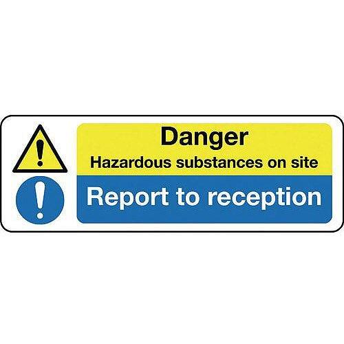 Rigid PVC Plastic Multi-Purpose Hazard Sign Danger Hazardous Substances On Site Report To Reception