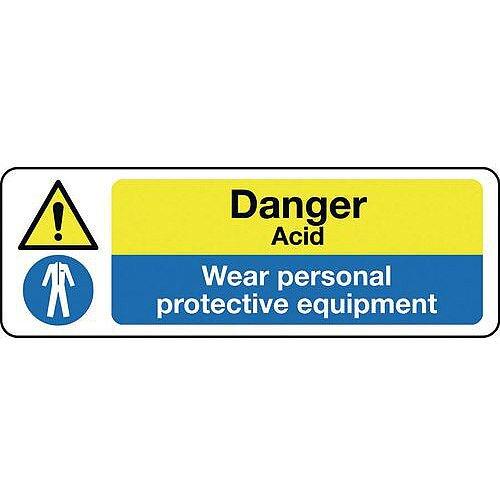 Rigid PVC Plastic Multi-Purpose Hazard Sign Danger Acid Wear Personal Protective Equipment