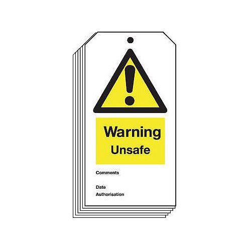 Tag Warning Unsafe 80X150 Rigid Plastic