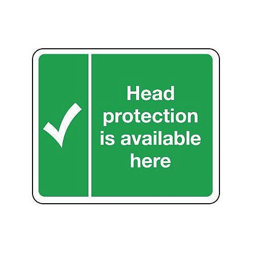 Rigid PVC Plastic Protective Equipment Location Sign Head Protection Is Available Here