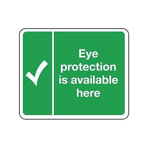 Rigid PVC Plastic Protective Equipment Location Sign Eye Protection Is Available Here