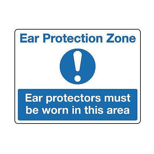 Rigid PVC Plastic Protective Clothing And Respiratory Protection Sign Ear Protection Zone
