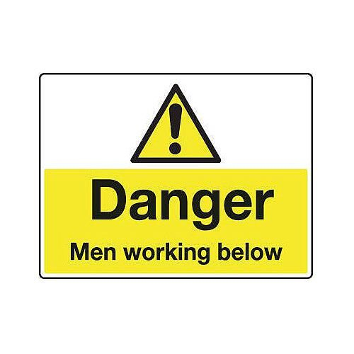 Sign Danger Men Working Below 600X450 Rigid Plastic