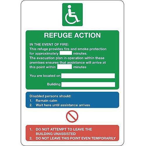 Sign Refuge Action 250X300 Rigid Plastic