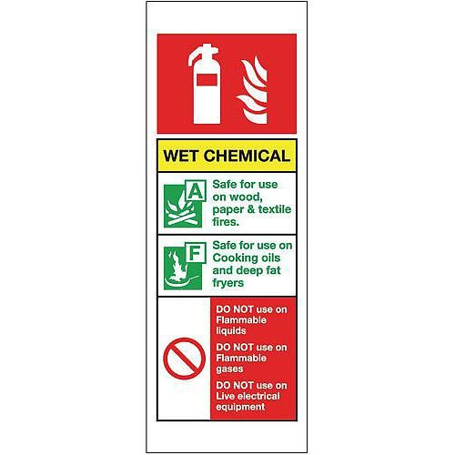 Rigid PVC Plastic Fire Extinguisher Sign Wet Chemical