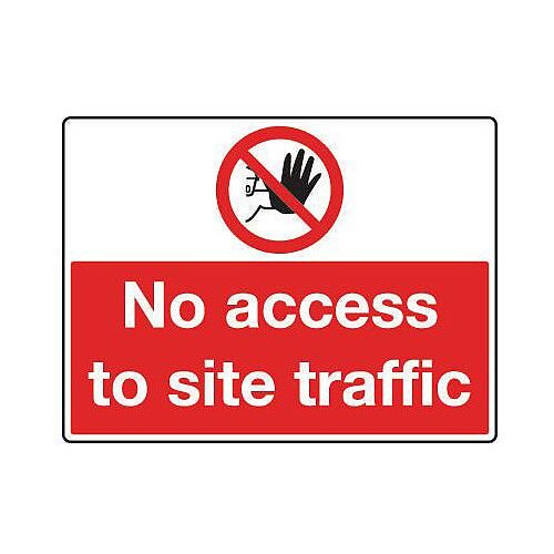 Rigid PVC Plastic General Construction Sign No Access To Site Traffic