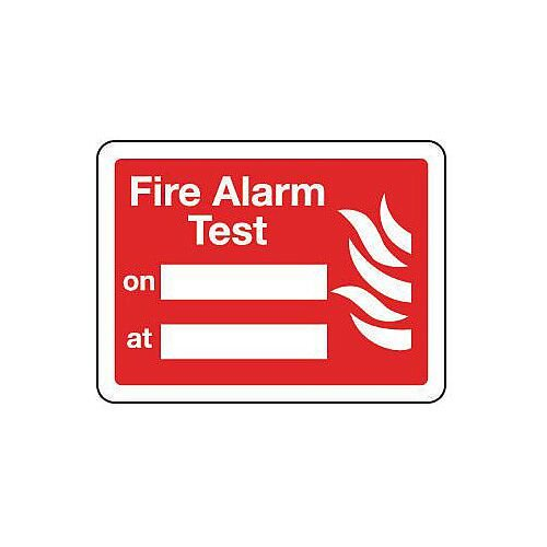 Sign Fire Alarm Test 200X150 Rigid Plastic