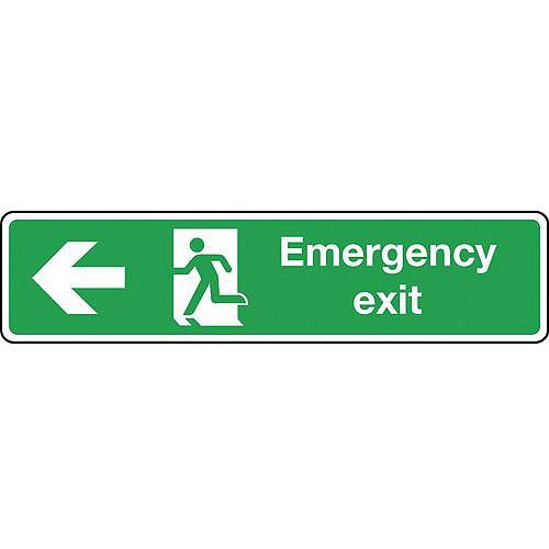 Rigid PVC Plastic Emergency Exit Arrow Left Slimline Sign H x W mm: 125 x 550