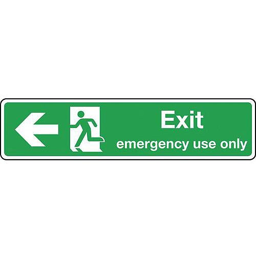 Rigid PVC Plastic Exit Emergency Use Only Arrow Left Slimline Sign H x W mm: 125 x 550