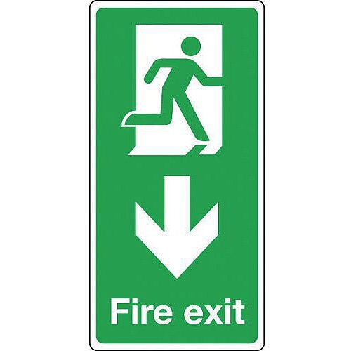 Rigid PVC Plastic Fire Exit Arrow Down Sign Portrait H x W mm: 500 x 250