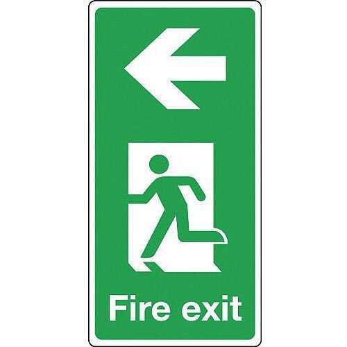 Rigid PVC Plastic Fire Exit Arrow Left Sign Portrait H x W mm: 500 x 250