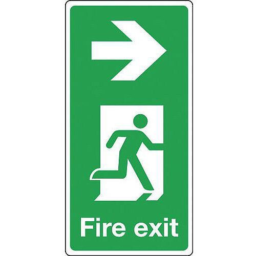 Rigid PVC Plastic Fire Exit Arrow Right Sign Portrait H x W mm: 500 x 250
