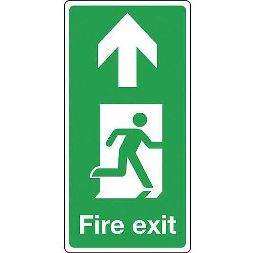 Rigid PVC Plastic Fire Exit Arrow Up Sign Portrait H x W mm: 500 x 250